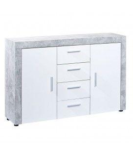 Buffet gris béton et blanc 2 portes 4 tiroirs 135cm Cambridge