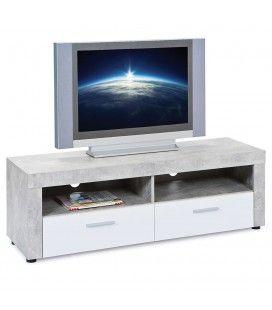 Meubles TV gris béton et blanc 2 niches 2 tiroirs 135cm Cambridge