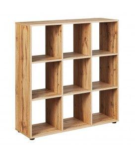 Meuble séparateur étagère 9 cases bois clair Cléa