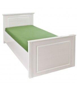 Lit une place avec cadre blanc en bois 90x200cm Texas