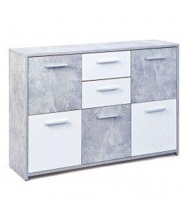 Buffet gris béton et blanc 5 portes 2 tiroirs 115cm Leicester