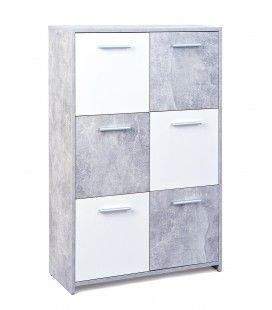 Rangement 6 portes gris béton et blanc 80cm Leicester
