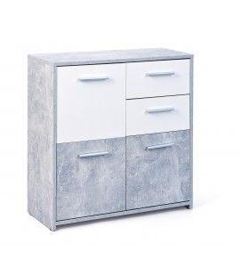 Buffet 3 portes 2 tiroirs gris béton et blanc 80cm Leicester
