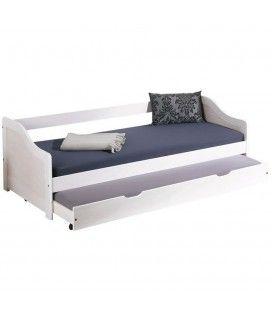Lit banquette à lit tiroir gigogne blanc sommier 80x190cm Bedford
