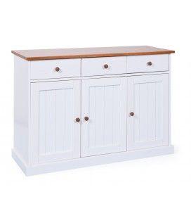 Buffet 3 portes 3 tiroirs blanc et bois foncé 130cm Portsmouth
