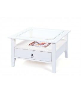 Table basse blanche avec tiroir et plateau en verre 75cm Lambesc