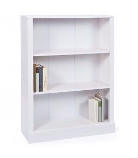 Bibliothèque 3 tablettes bois pin massif blanc 90x115cm Lambesc