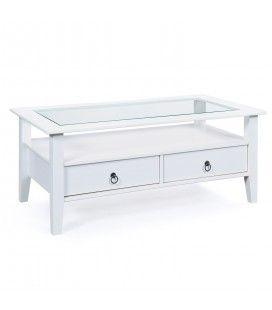 Table basse blanche 2 tiroirs et plateau en verre 115cm Lambesc