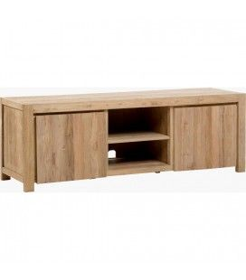 Table basse en bois massif de teck brossé
