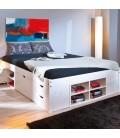 Lit 140x200cm bois blanc avec tiroirs et niches de rangement Queen size Cardiff