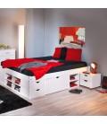 Lit 180x200cm bois blanc avec tiroirs et niches de rangement King size Cardiff