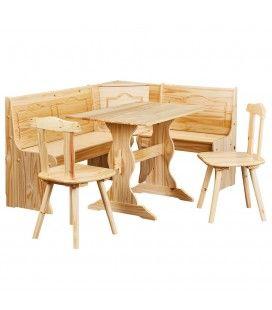 Table d'angle avec chaises + banc en bois de pin massif Albertville