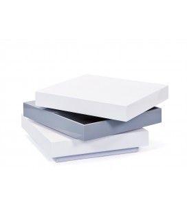 Table basse blanche et grise avec rangement piovtant 70cm Triade