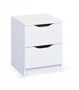 Chevet 2 tiroirs blanc 40x50cm Milano