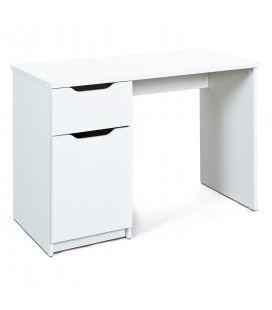 Bureau blanc 115cm avec rangement porte + tiroir Milano