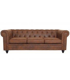 Canapé 3 places vintage capitonné Chesterfield