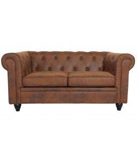 Canapé vintage marron en tissu capitonné 2 places Chesterfield