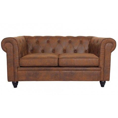 Canapé vintage marron en tissu capitonné 2 places Chesterfield -