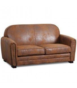 Canapé vintage Club en simili-cuir marron vintage 3 places