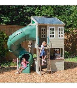 Aire de jeu jardin maison deux étages avec toboggan tube Cozy Escape Kidkraft