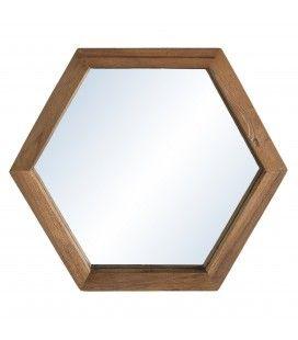 Miroir bois massif 30cm forme hexagone SULA