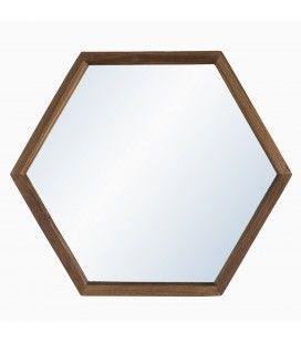 Miroir bois massif 50cm forme hexagone SULA
