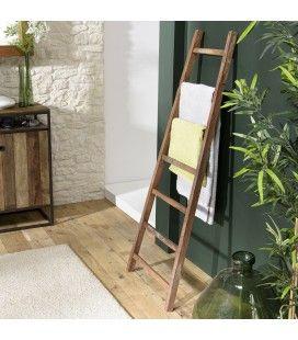 Porte serviettes échelle en bois de teck massif 150cm SULA