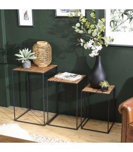 Set de 3 tables d'appoint gigogne en bois de teck massif et métal SULA