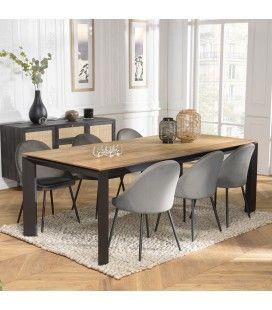 Table à rallonges extensible à 320cm en teck massif et métal MADY