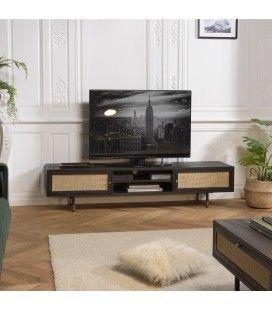 Meuble TV noir 2 niches 2 portes cannage rotin CARTAGO