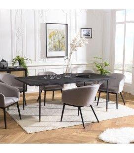 Table à manger noire 200x100cm pin massif vieilli CARTAGO