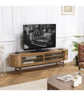Meuble TV bois massif couleur naturel 2 portes coulissantes en verre MONTEVERDE