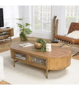 Table basse bois massif couleur naturel 4 tiroirs avec façade verre MONTEVERDE