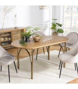 Table à manger bois Peuplier massif 160x80cm couleur naturel MONTEVERDE