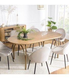 Table à manger bois Peuplier massif 180x90cm couleur naturel MONTEVERDE