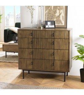 Commode 4 tiroirs bois Acacia massif pieds métal ERNESTO
