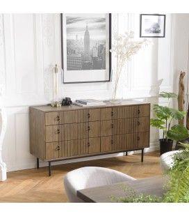 Commode 6 tiroirs bois Acacia massif pieds métal ERNESTO