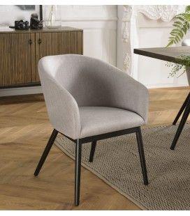 Lot de 2 chaises tissu gris clair perle pieds métal ERNESTO