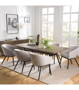Table à manger 200x100cm bois Acacia massif et pieds métal ERNESTO