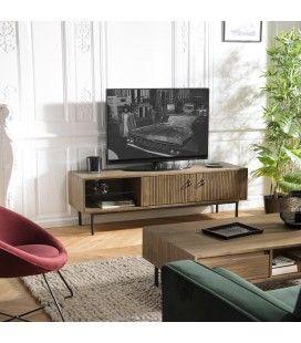 Meuble TV bois massif 2 portes 1 niche Acacia pieds métal ERNESTO