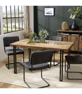 Table à manger bois massif et acier noir 150x90cm SULA