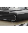 Lit simili cuir noir liseré blanc éclairage led 140 cm LIGHT -