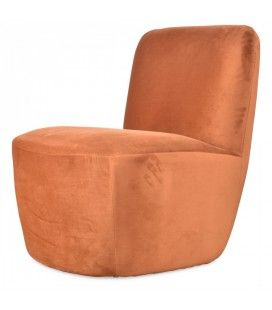 Fauteuil relax Eve en velours orange ambre