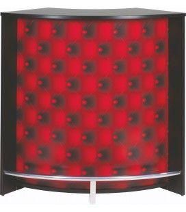 Comptoir de Bar blanc ou noir effet capitonnage rouge