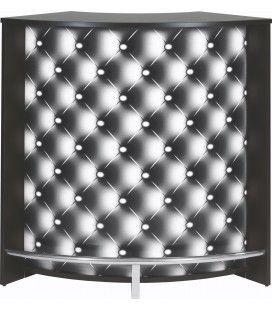 Meuble comptoir bar effet capitonné noir ou blanc