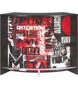 Comptoir de Bar blanc ou noir 134cm + Double porte ROCK