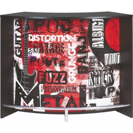 Comptoir de Bar blanc ou noir 134cm + Double porte ROCK -