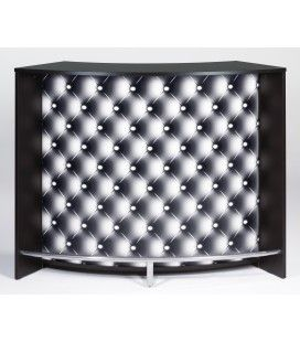 Comptoir de Bar blanc ou noir 134cm + Double porte CAPITONNE NOIR