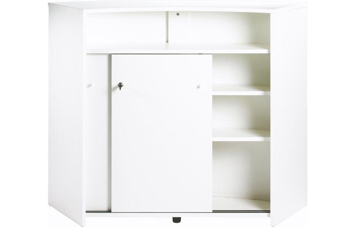 Comptoir de bar blanc design 134cm double porte decome for Porte serviette de comptoir