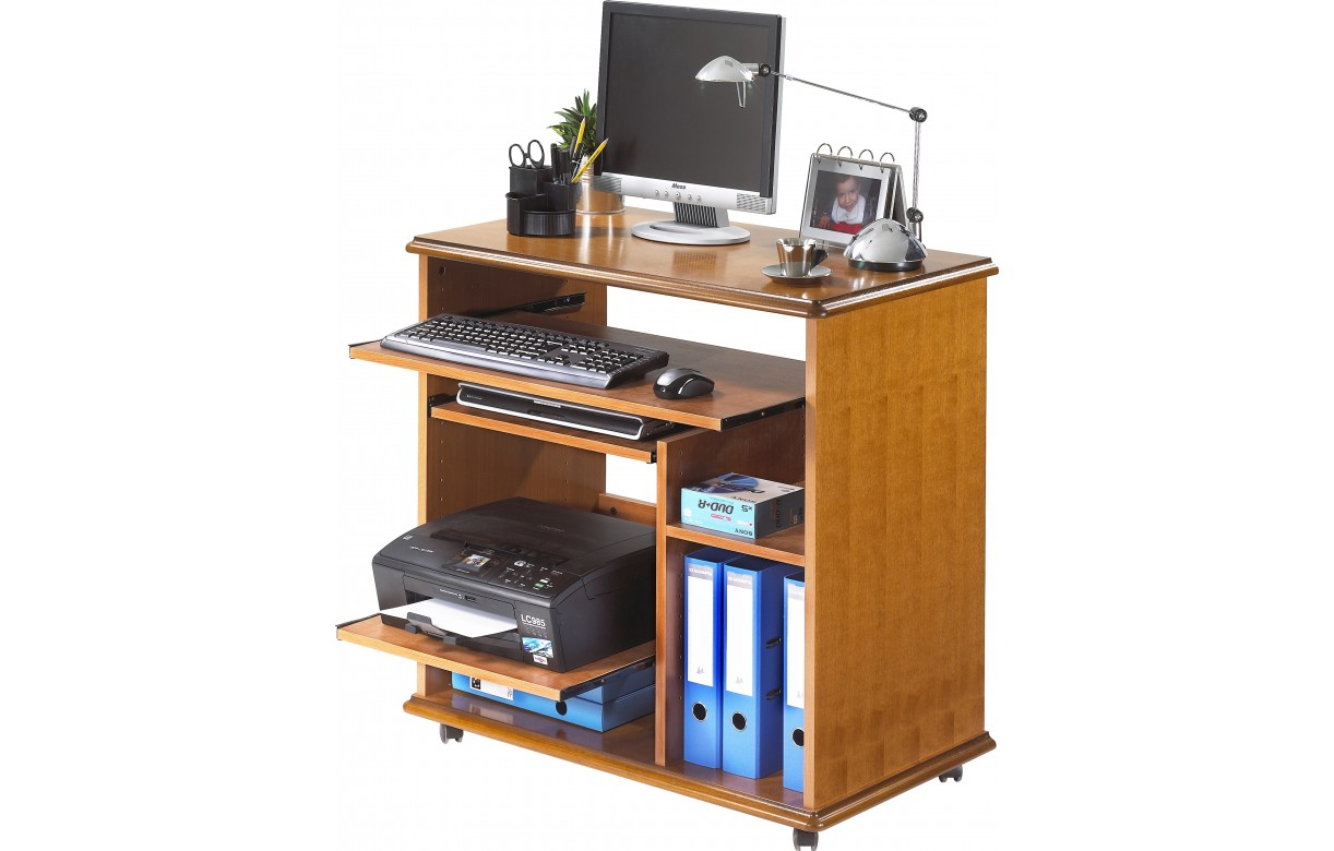 Bureau informatique complet en bois merisier lyon for Meuble bureau informatique but